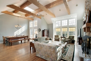 Family room with ceiling beams
